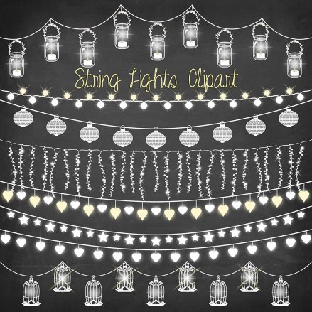 String Of Lights Clipart Free : String lights clipart: ?CHALKBOARD STRING LIGHTS? with wedding lights, party lights, patio ...